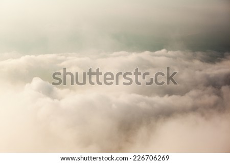 Beautiful from the nature with fog and cloud - stock photo