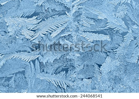 Beautiful frost patterns on glass in winter - stock photo