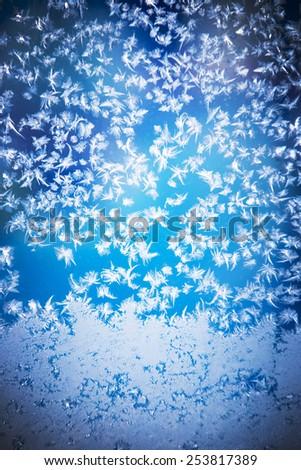Beautiful frozen window - stock photo