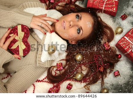 beautiful frozen woman with presents