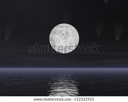 Beautiful full moon by dark night with stars and comets over the ocean - stock photo