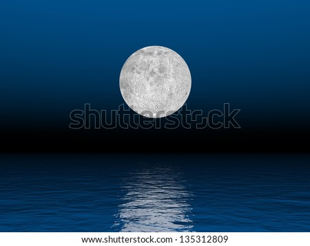 Beautiful full moon by deep blue  night over the ocean - stock photo