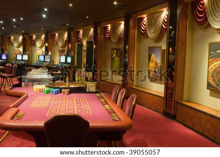 Beautiful game hall in a rich casino. The given interior does not exist.. - stock photo