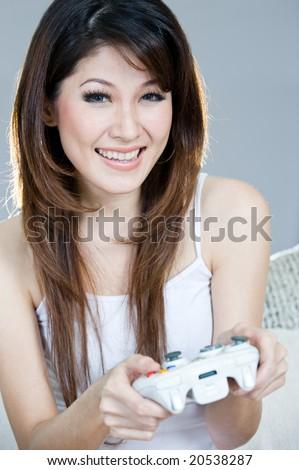 beautiful gamer - stock photo
