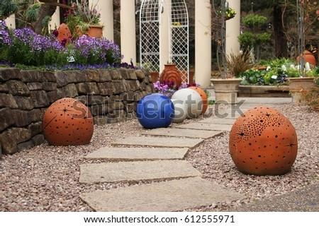 Beautiful Garden Decorated With Ceramic Balls