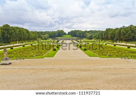 Beautiful garden designed by landscape architect Andre le Notre. Chateau de Vaux-le-Vicomte (1661) - baroque French Palace located in Maincy, near Melun, in Seine-et-Marne department of France.