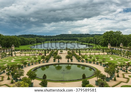 Beautiful garden in a Famous palace Versailles, Paris, France
