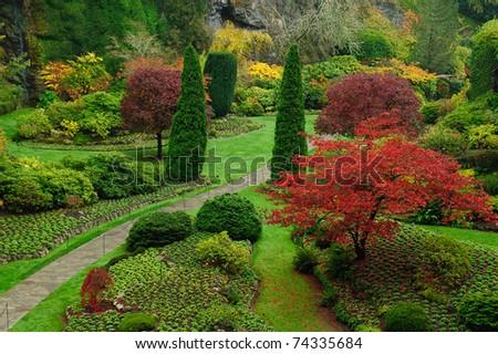 Beautiful garden in autumn, victoria, british columbia, canada - stock photo