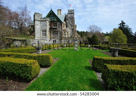 Beautiful garden in the historic hatley castle (built in 1908) at the city colwood in vancouver island, british columbia, canada