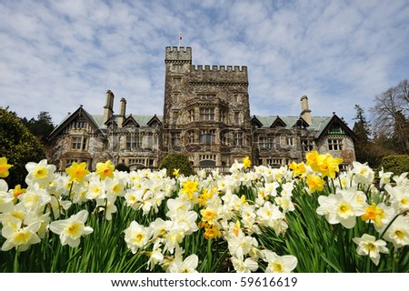 Beautiful garden in the historic hatley castle (built in 1908) at the city colwood in vancouver island, british columbia, canada - stock photo