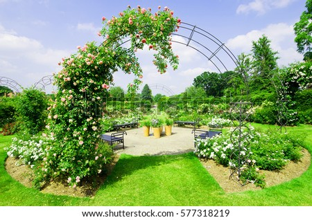 Beautiful Garden Landscape In Spring.