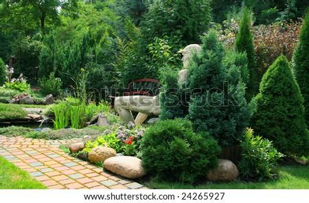 beautiful garden, my garden poland - stock photo
