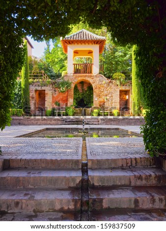 Beautiful Gardens of Alhambra in Granada, Andalusia, Spain - stock photo