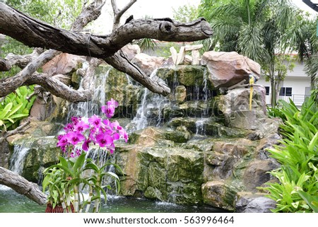 Beautiful Gardens With Waterfalls And Flowers