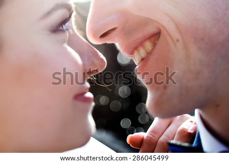 beautiful gentle romantic passionate first kiss bride and groom