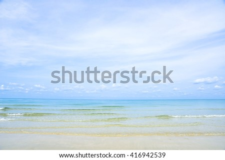 Beautiful gentle wave and white sand beach at Koh Chang Island, Thailand - stock photo
