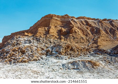 Beautiful geological formation of Moon Valley in Atacama Desert, Chile - stock photo