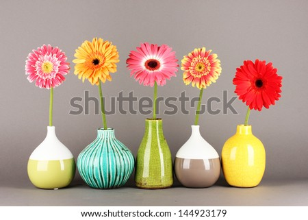 Beautiful Gerber flowers on grey background - stock photo
