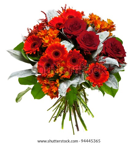 Beautiful gerberas and roses - stock photo