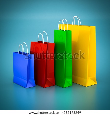 Beautiful gift bags  on a blue background