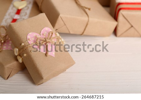 Beautiful gift box close-up. Valentine Day concept - stock photo