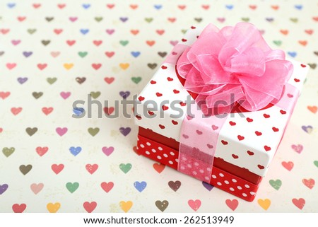 Beautiful gift box on bright background. Valentine Day concept - stock photo