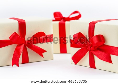 Beautiful gift box on white background, Christmas holidays and greeting season concept