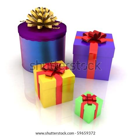 Beautiful gift boxes - stock photo