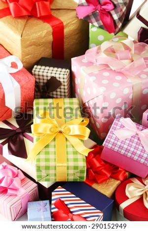 Beautiful gift boxes background - stock photo