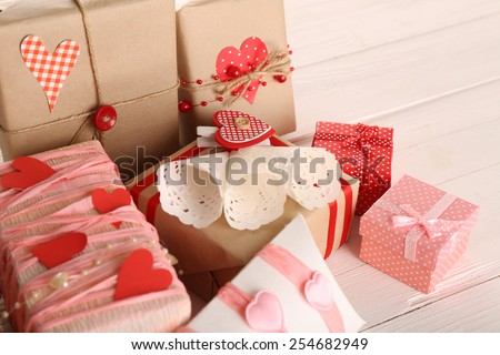 Beautiful gift boxes close-up. Valentine Day concept - stock photo