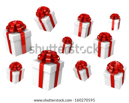 Beautiful gift boxes in different angles isolated on white   - stock photo