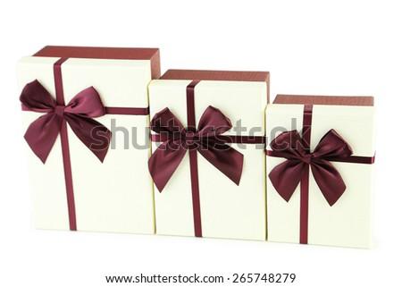 Beautiful gift boxes isolated on white - stock photo