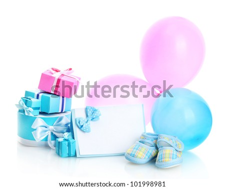 beautiful gifts, baby's bootees, blank postcard and balloons isolated on white