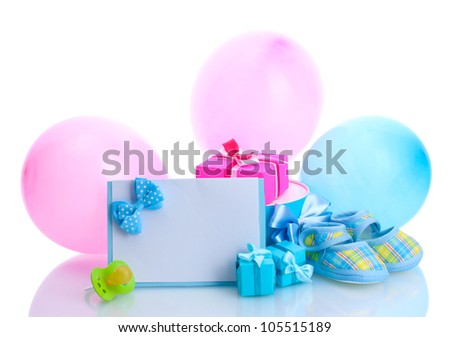 beautiful gifts, baby's bootees, blank postcard, dummy and balloons isolated on white - stock photo