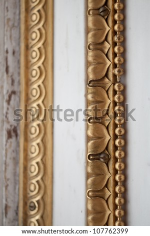beautiful gilded stucco plaster in the interior - stock photo