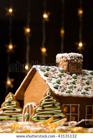 Beautiful gingerbread house with lights on dark background - stock photo