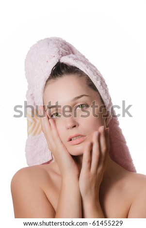 beautiful girl after a shower with a towel on your hair