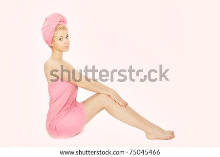 beautiful girl after shower - stock photo