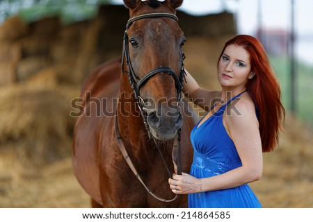 beautiful girl and a horse  - stock photo