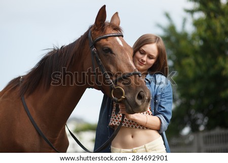 beautiful girl and a horse