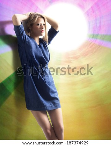 Beautiful girl and abstract background. - stock photo