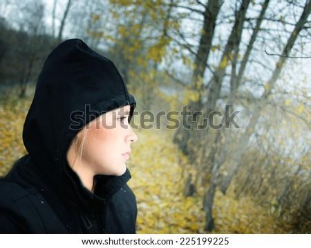 Beautiful girl and fall. - stock photo
