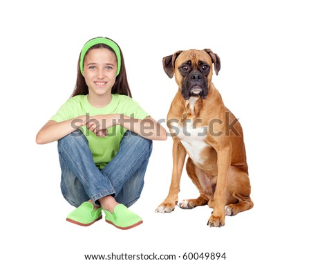 Beautiful girl and her dog isolated on white background - stock photo