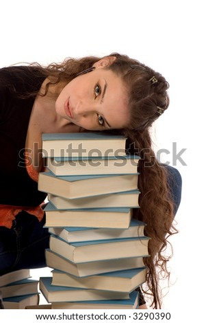 beautiful girl and stack of books
