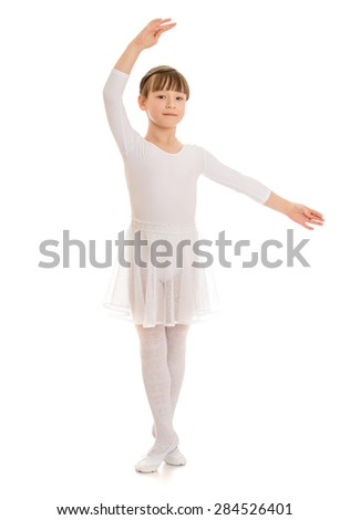 beautiful girl athlete in a white sports tights- isolated on white background - stock photo