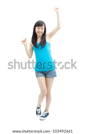 beautiful girl cheering, isolated on white background