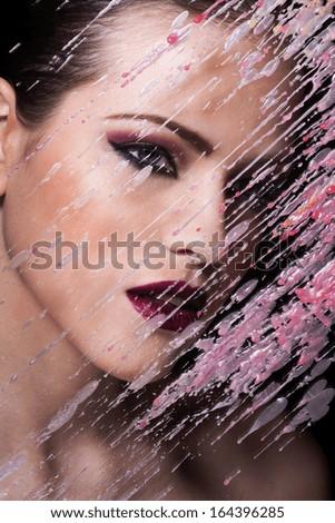 Beautiful Girl Close-up Portrait. Sexy make up - stock photo