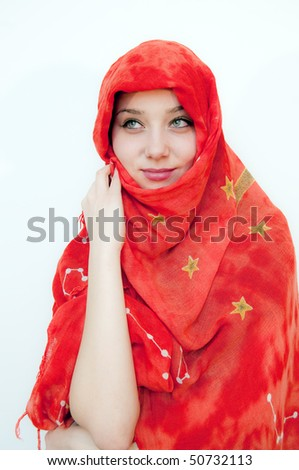 Beautiful Girl Covered with red shawl - stock photo