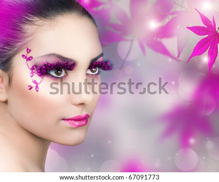 Beautiful Girl.Creative Fashion Makeup - stock photo