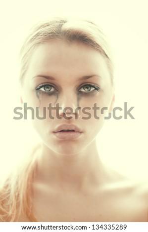 beautiful girl crying - stock photo